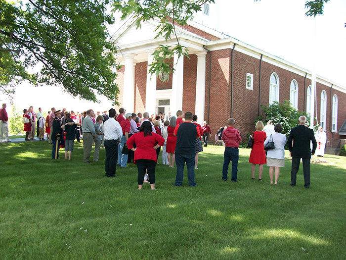 Congregants gathered outside the church for a picnic