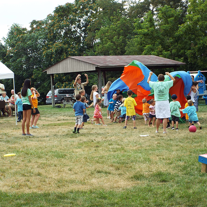 Kids playing at vacation bible school