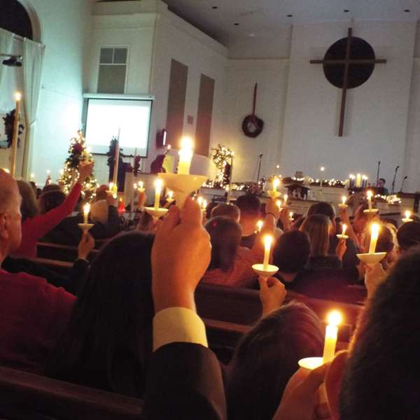 A candlelight church service