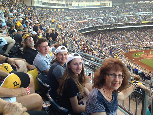 Church members sitting in the bleachers high up at PNC park