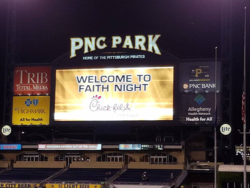 "The jumbotron at PNC park that says ""Welcome to Faith Night"""