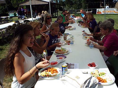 Picnic attendees eating at a long table
