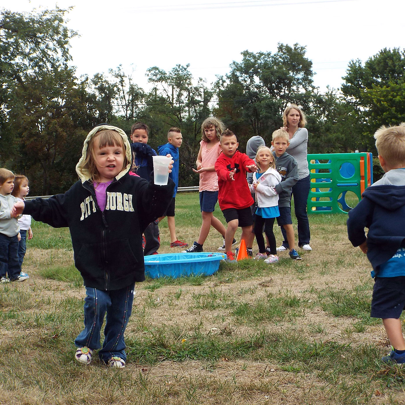 Kids from the preschool playing outside